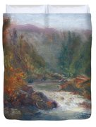 Morning Muse - Original Contemporary Impressionist River Painting Duvet Cover