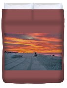 Morning Red Sky At Cape May New Jersey Duvet Cover