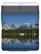 Morning Reflection Boats On Colter Bay Duvet Cover