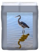Morning Reflections Of A Great Blue Heron Duvet Cover