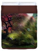 Morning Sun Rays On Old Japanese Maple Tree In Fall Duvet Cover