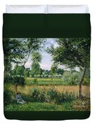 Morning Sunlight Effect At Eragny Duvet Cover by Camille Pissarro