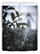 Morning Web With Dew Duvet Cover