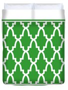 Moroccan Arch With Border In Dublin Green Duvet Cover