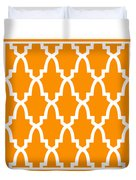 Moroccan Arch With Border In Tangerine Duvet Cover