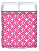 Moroccan Endless Circles I With Border In French Pink Duvet Cover
