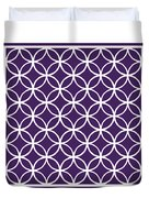 Moroccan Endless Circles I With Border In Purple Duvet Cover