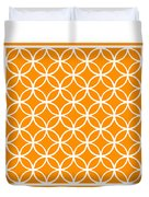 Moroccan Endless Circles I With Border In Tangerine Duvet Cover