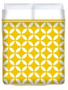 Moroccan Endless Circles II With Border In Mustard Duvet Cover