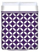 Moroccan Endless Circles II With Border In Purple Duvet Cover