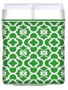 Moroccan Floral Inspired With Border In Dublin Green Duvet Cover
