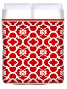 Moroccan Floral Inspired With Border In Red Duvet Cover