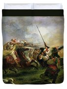 Moroccan Horsemen In Military Action Duvet Cover by Ferdinand Victor Eugene Delacroix