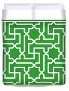Moroccan Key With Border In Dublin Green Duvet Cover