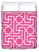 Moroccan Key With Border In French Pink Duvet Cover