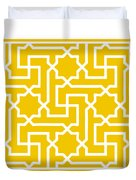 Moroccan Key With Border In Mustard Duvet Cover
