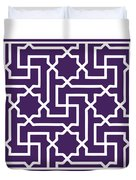 Moroccan Key With Border In Purple Duvet Cover