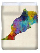 Morocco Watercolor Map Duvet Cover by Michael Tompsett