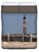 Morris Island Lighthouse Sea Wall Duvet Cover