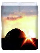 Morro Rock At Sunset Duvet Cover