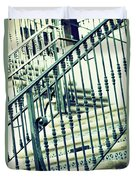 Mosaic And Iron Staircase La Quinta California Art District In Mint Tones Photograph By Colleen Duvet Cover