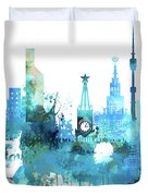 Moscow, Russia, Watercolor In Blue Duvet Cover