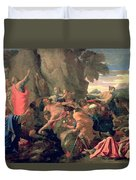 Moses Striking Water From The Rock Duvet Cover by Nicolas  Poussin