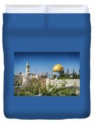 Mosques In Old Town Of Jerusalem Israel Duvet Cover