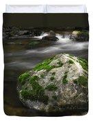 Mossy Boulder In Mountain Stream Duvet Cover