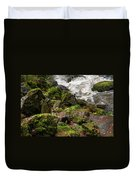 Mossy Rocks And Water Stream Duvet Cover