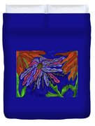 Most Unusual Poinsettia In A Midnight Blue Sky Duvet Cover