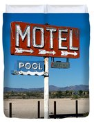 Motel Sign On I-40 And Old Route 66 Duvet Cover