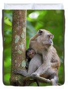 Mother And Baby Monkey Duvet Cover