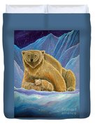 Mother And Baby Polar Bears Duvet Cover