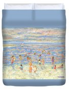 Mother And Child At The Beach Duvet Cover