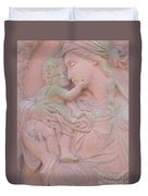 Mother And Child In Red Sandstone Duvet Cover