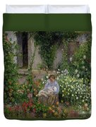 Mother And Child In The Flowers Duvet Cover