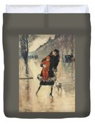 Mother And Child On A Street Crossing Duvet Cover