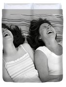 Mother And Daughter Laughing Duvet Cover by Michelle Quance