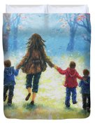 Mother And Three Sons  Duvet Cover