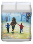 Mother And Two Sons Out For A Walk Duvet Cover