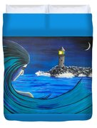 In The Glow Of The Lighthouse  Duvet Cover