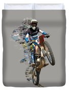 Motocross Rider With Flying Pieces Duvet Cover