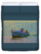 Motor Yacht At Spruce Point Boothbay Harbor Maine Duvet Cover