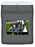 Motorcycle And Park Bench As Art Duvet Cover