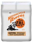 Motorcycle Speedway Races Duvet Cover