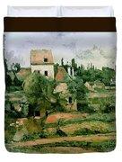 Moulin De La Couleuvre At Pontoise Duvet Cover by Paul Cezanne