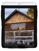 Moulton Ranch Cabin Reflection Grand Tetons Duvet Cover