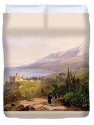 Mount Athos And The Monastery Of Stavroniketes Duvet Cover by Edward Lear