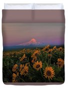 Mount Hood And Balsam Root Blooming In Spring Duvet Cover